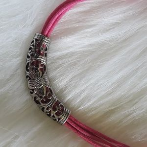 Pink Cord Silver Filigree Statement Necklace